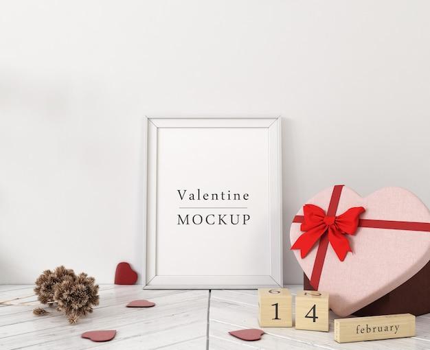 Rahmenmodell mit zusammensetzung der valentinsgrußobjekte