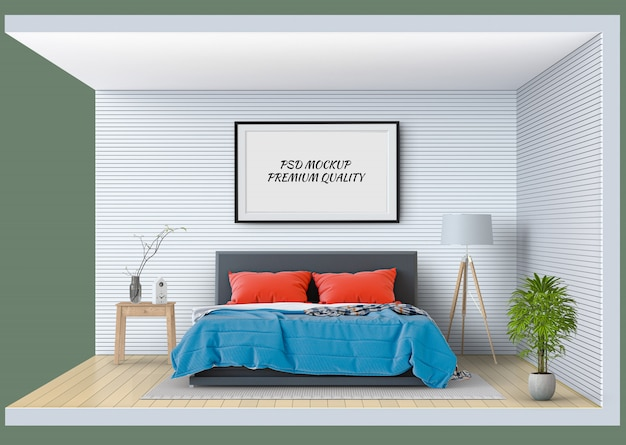 Rahmenmodell zeigen innenraum modernes schlafzimmer