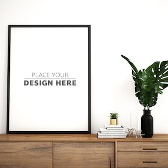 Rahmenmodellentwurf auf schrank mit modernen möbeln