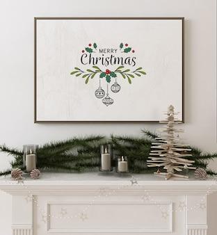 Rahmenplakatmodell mit hölzernem weihnachtsbaum und dekoration