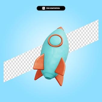 Rakete 3d-render-illustration isoliert