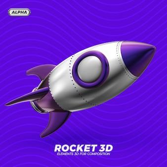 Rakete 3d render isoliert
