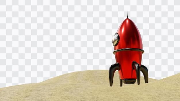 Raketenstart in 3d-rendering isoliert
