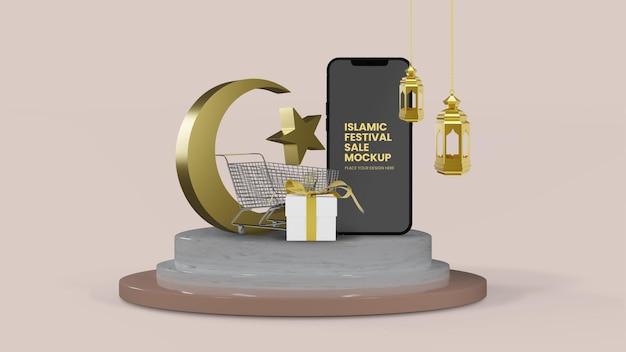 Ramadan eid sale isoliertes 3d-rendering mit smartphone-modell