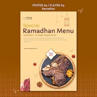 Ramadan-ereignisplakatschablone mit lebensmittelfotos