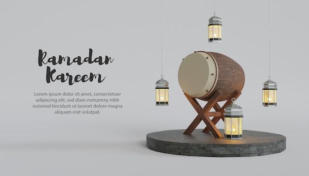 Ramadan kareem 3d hintergrund mit bettwanze und lampe auf podium