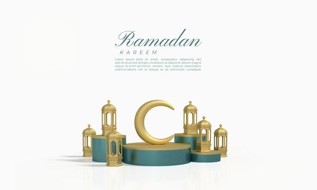 Ramadan kareem 3d-rendering mit dem mond und lichtern auf dem podium
