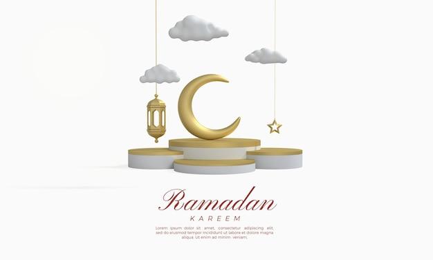 Ramadan kareem 3d-rendering mit einem goldenen mond auf dem podium