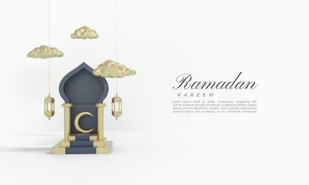 Ramadan kareem 3d-rendering mit einer halle über der treppe
