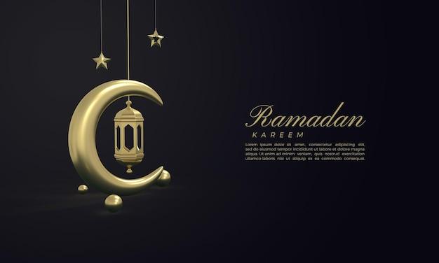 Ramadan kareem 3d-rendering mit goldenem mond und goldenen lichtern