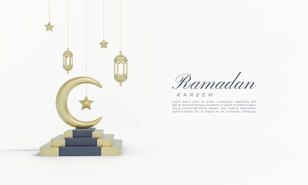 Ramadan kareem 3d-rendering mit goldenem mond und sternen auf treppen