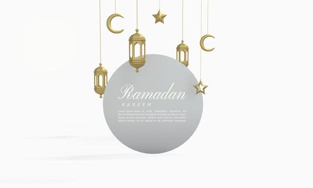 Ramadan kareem 3d-rendering mit kreisbrett und goldenen lichtern