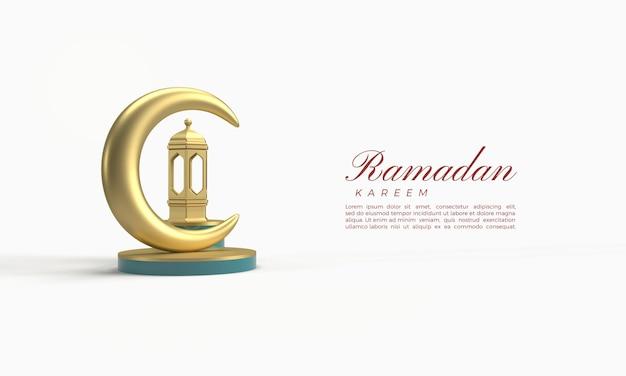 Ramadan kareem 3d-rendering mit luxuriösen goldenen lichtern und mond