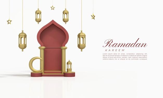 Ramadan kareem 3d-rendering mit roten hallen und hängenden lichtern