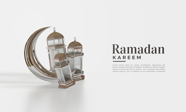 Ramadan kareem 3d rendern mit glänzenden lichtern und mond