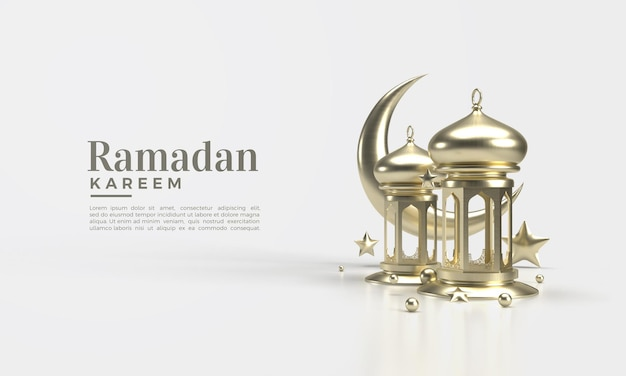 Ramadan kareem 3d rendern mit illustration des lampen- und mondbehälters