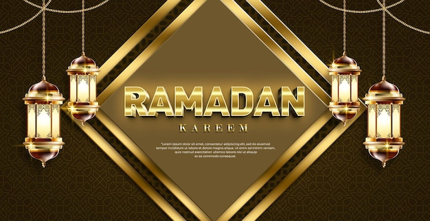 Ramadan kareem 3d-textstil-effektvorlage mit laterne