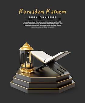 Ramadan kareem gruß mit heiligem koran und laterne auf dem podium