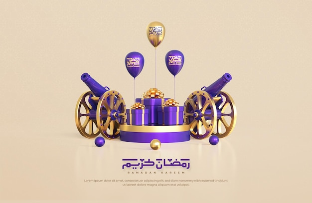 Ramadan kareem grußhintergrund mit realistischen islamischen festlichen dekorativen elementen 3d