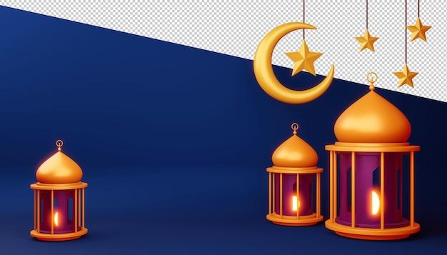 Ramadan kareem hintergrund, 3d-rendering-illustration