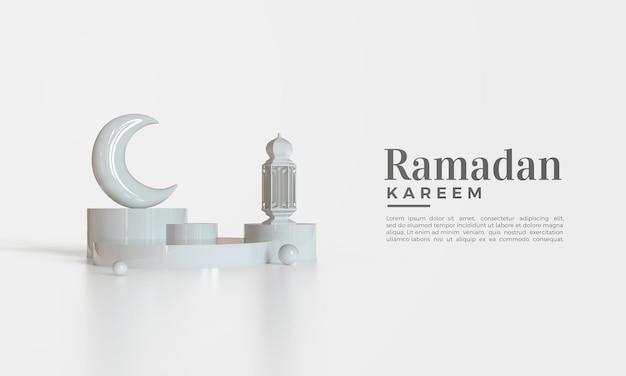 Ramadan kareem hintergrund mit weißer halbmondillustration und lichtern