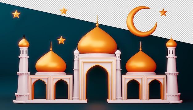 Ramadan kareem hintergrund, moscheegebäude, 3d-rendering-illustration Premium PSD