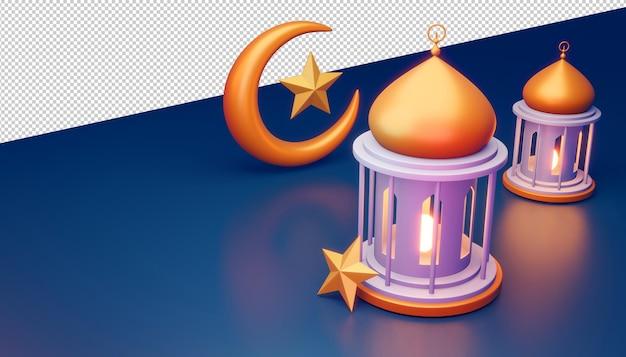 Ramadan kareem hintergrund, moscheegebäude, 3d-rendering-illustration