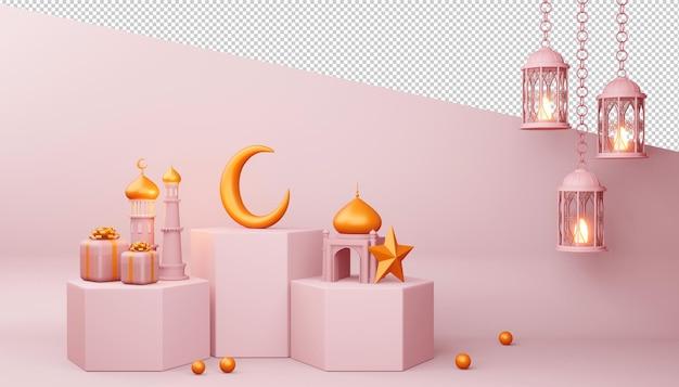 Ramadan kareem hintergrund, moscheegebäude, 3d-rendering