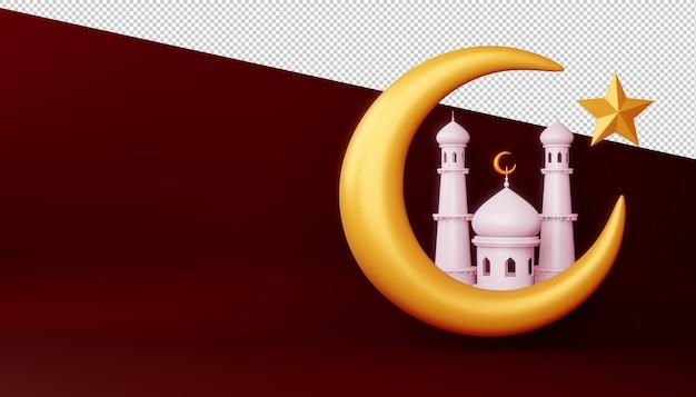 Ramadan kareem hintergrund, moscheegebäude auf mond, 3d-rendering-illustration