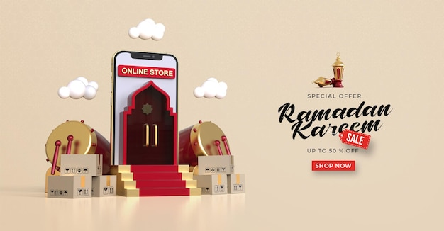 Ramadan kareem verkauf banner vorlage mit 3d online-shopping auf mobilen anwendungen