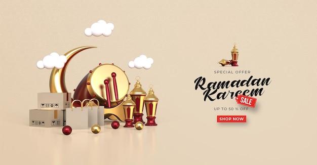 Ramadan kareem verkauf banner vorlage