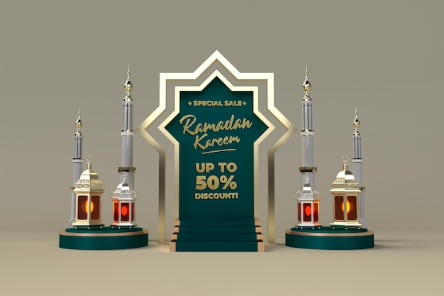 Ramadan kareem verkaufsförderung und verkauf 3d feier post