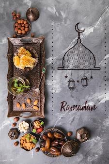 Ramadan-komposition mit flacher lage mit copyspace