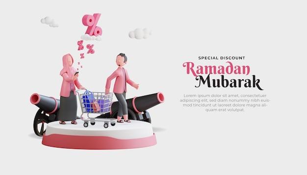 Ramadan mubarak verkauf banner vorlage mit 3d muslimischen paar charakter und großen rabatt
