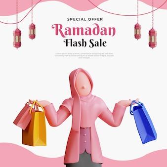 Ramadan-verkaufsfahnenschablone mit weiblichem muslimischen charakter 3d und einkaufstasche