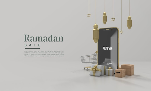 Ramadan-verkaufsmodell 3d rendern mit hängenden lichtern
