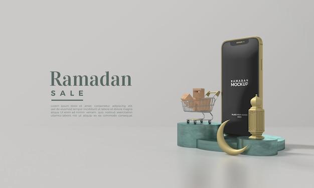 Ramadan-verkaufsmodell mit 3d-smartphone-illustration rendern