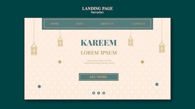 Ramadan-webvorlage mit gezeichneten elementen