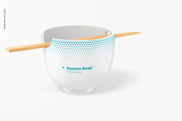 Ramen bowl mockup, ansicht von links