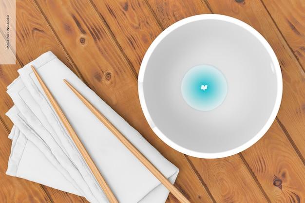 Ramen bowl mockup, ansicht von oben