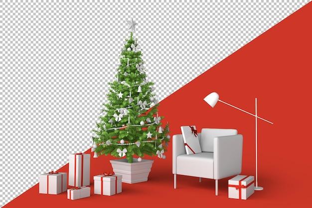 Rauminnenraum mit geschmücktem weihnachtsbaum