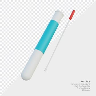 Reagenzglas und wattestäbchen 3d-darstellung