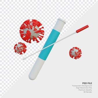 Reagenzglas und wattestäbchen mit neuer 3d-darstellung des corona-virus