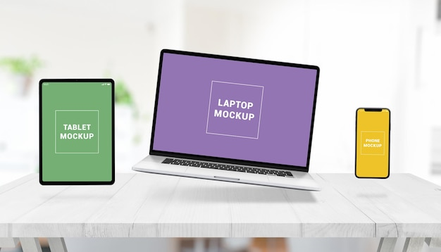 Reaktionsschnelles modell mit schwebendem laptop, tablet und telefon