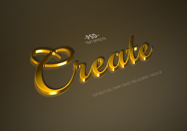 Real golden mock up style bearbeitbare texteffekte