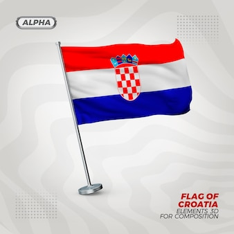 Realisierte 3d strukturierte flagge kroatiens für komposition