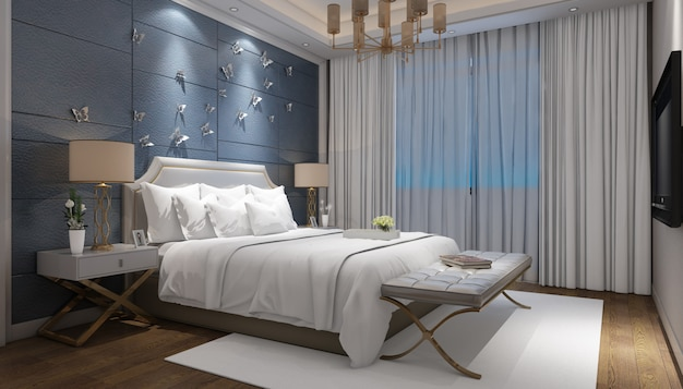 Realistisch helles modernes doppelzimmer mit möbeln