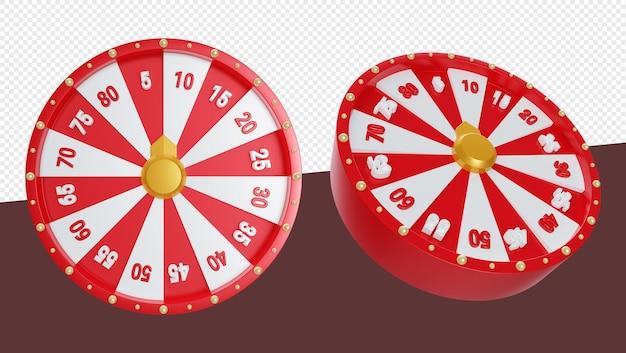 Realistische 3d-darstellung des spinnradspiels mit nummer