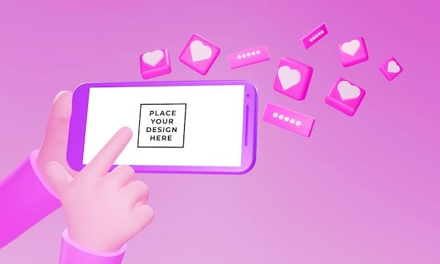 Realistische 3d-hand mit smartphone-modell mit einem schwebenden herzornament