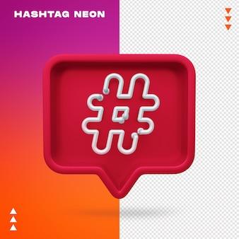 Realistische 3d hashtag neon